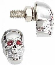 Totenkopf Schrauben Kennzeichen Metall Chrom Rot für Harley Softail Chopper 25mm