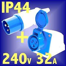 240v 32A 3 PIN BLUE SITE PLUG BENCH WALL SOCKET IP44 lead caravan hook amp
