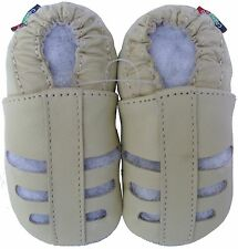carozoo soft sole leather baby sandals cream 5-6y