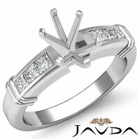 Diamond Engagement Channel Setting Ring Oval Semi Mount 14k White Gold 0.4Ct