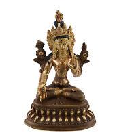 Soprammobile Tibetano Bianco Tara Vajrasattva 11 CM Rame Nepal AFR9-4730