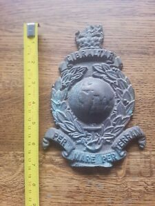 Rare Gibraltar Royal Marines Brass Plaque ww2