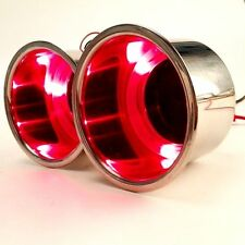 2 PCS 3 Red LED Light Stainless Steel Recessed Boat RV Cup Drink Holder -SFR