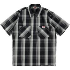 Ben Davis Short Sleeve Half Zip Work Shirt Plaid Navy Grey