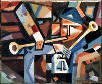 "Expressionist Anatoliy Chudinovskikh ""Fallende Musiker"" Öl Leinwand 30x24 cm"
