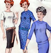"RARE Vintage 50s SLIM DRESS Sewing Pattern Bust 36"" 92 cm Sz 12 RETRO Evening"