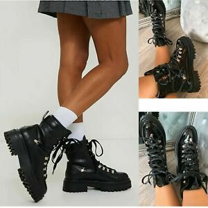Womens Chunky Sole Ankle Boots Ladies Block Heel Lace Up Biker Army Shoes Size