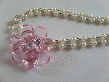 DOUBLE STRAND OF LINKED PEARL LIKE LINKED BEAD chain PINK FLOWER 68+6CM new