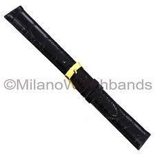 16mm Morellato Black Matte Genuine Alligator Stitched Mens Watch Band 1174