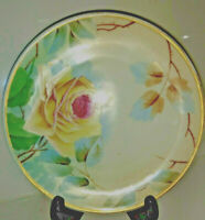 Vintage Imperial Austria Hand Painted Plate Yellow Rose Signed Gold Trim
