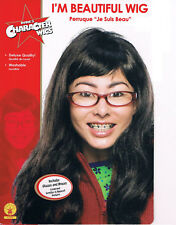 I'M BEAUTIFUL WIG UGLY BETTY WIG SET GLASSES BRACES HALLOWEEN COSTUME NEW