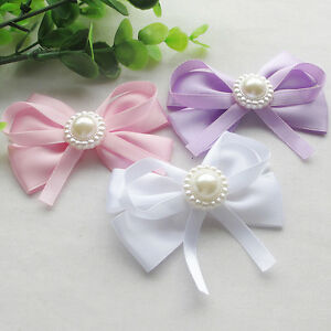 8CM Large Satin Ribbon Flowers Bows w/pearl Wedding Decoration 18pcs Lots