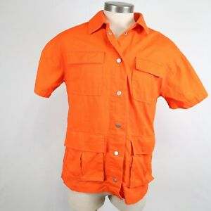NWT Urban Outfitters Men's Hunter Orange Button Up Short Sleeve Shirt Size S