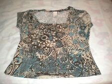 FASHION 2 FASHION LADIES  BLOUSE  COMBINATION OF BROWN GREEN BEIGE   SIZE SMALL