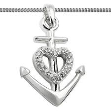 Echt Silber 925 Kette Glaube Liebe Hoffnung Anhänger Kreuz Herz Zirkonia Anker