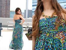Neuf avec étiquettes Zara Vert Mosaïque Floral Silk Maxi Grecian long Robe d'été Petit 8 4 36