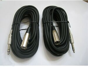 """50Ft 1//4/"""" Stereo TRS Male to Male Guitar DJ Speaker PA Instrument Cable 5 Lot"""