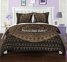 Gold Black Ombre Mandala Blanket Duvet Doona Cover Royal Bedding Set Indian Boho