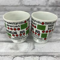 Holt Howard Merry Christmas Around the World Coffee Cups Mugs #6426 Vtg Lot of 2