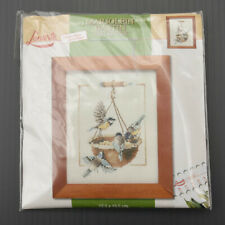 Kit canevas Marjolein Bastin Lanarte oiseaux broderie point de croix 12,5 x 15,5