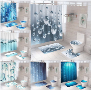 Water Drop Extra Long Art Shower Curtain Waterproof Polyester Fabric Mould Proof