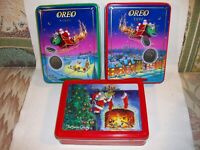COOKIE TINS Vintage Lot of 3 Oreo, Swiss Colony Christmas w Santa