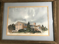 """Vintage C Fisher """"Beach And Home Scene"""" Oil Painting - Framed"""
