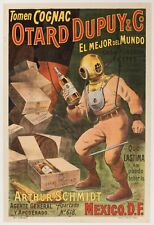 Original Vintage Poster - Tomen Cognac Otard Dupuy & Co - Deep Sea Diver - 1910