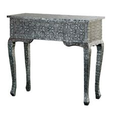 BLACK SILVER EMBOSSED 3-DRAWER DRESSING CONSOLE SIDE TABLE (T7687) TIMOR