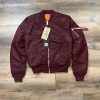 NWT Men's Alpha Industries MA-1 Slim Fit European Fit Jacket Maroon Sz S $150