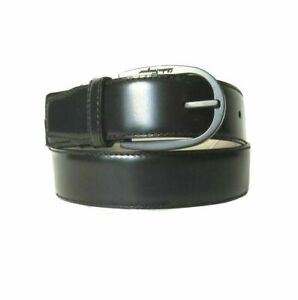 B-593118 Neuf Salvatore Ferragamo Cuir Noir Boucle Ceinture Taille 36 Pour 34