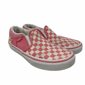 Vans Pink Checkerboard Classic Slip On Kids Size 2 Girl's Off The Wall