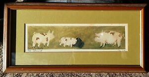 Peti Clements, Black folk artist, signed numbered print of charming pigs
