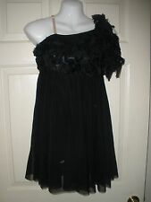 #107 A Wish Come True Lyric Dance Costume Black Feathers M Unitard Boy shorts