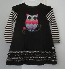 Servane Barrau Owl Dress 8-10 Y Black White Ruffle Pink Bird Long Sleeve Girls