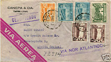 PERU, AIR MAIL, APR 1948, HEADED CANEPA, TACNA,  6 STAMPS (3 SERVICIO AEREO)   m
