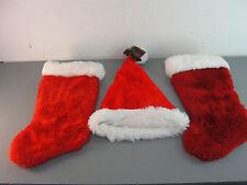🎅SANTA CLAUS HAT STOCKING FLEECE PLUSH RED WHITE HANGER CHRISTMAS HOLIDAY LOT 3
