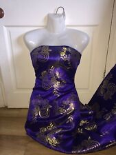 "1 MTR ROYAL BLUE/PURPLE FLORAL ORIENTAL BROCADE FABRIC...60"" WIDE £5.99"