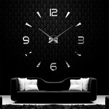 3D DIY Wall Clock Home Modern Decoration Crystal Mirror Stickers Living RooRDNH