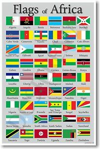 Flags of Africa - NEW World Travel Classroom Geography Poster