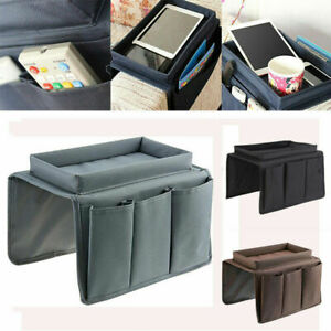 Sofa Chair Arm Rest 5 Pocket Organiser Couch Remote Control Storage Tray Holder