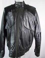 Sean John Men's Black Leather w/Suede Detail Jacket No Size Y164
