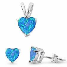 Blue Fire Opal Heart .925 Sterling Silver Earring & Pendant Set
