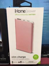 iHome External Battery Pack Universal/Smartphones Iphone Samsung Rose Gold 2X