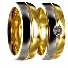 2 bicolor Edelstahl silber / gold Verlobungsringe + Innengravur gratis 40P176