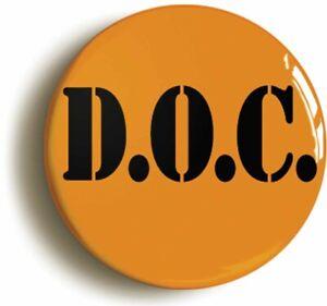 ORANGE BLACK DOC CORRECTIONS PRISON BADGE BUTTON PIN