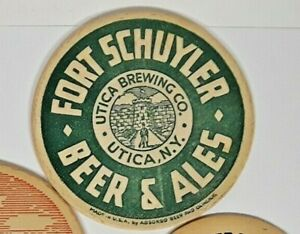 Fort Schuyler Beer & Ales solid Green coaster tough 4 inch Free Shipping