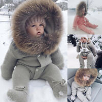Winter Infant Baby Boy Girl Hooded Romper Jumpsuit Knit Warm Outerwear Clothes P