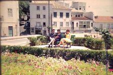 Vintage Photo Slide 1960s Lisbon Spain Beautiful Women on Bench Kodachrome