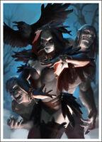 Raven Necromancer - 60 Matte Card Sleeves - Dark Magic Zombie Design - MTG
